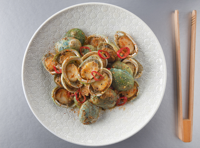 Pan Fried Seven Spice Abalone dish