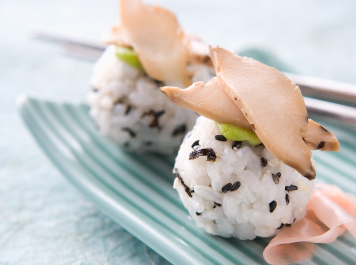 Rice balls abalone dish