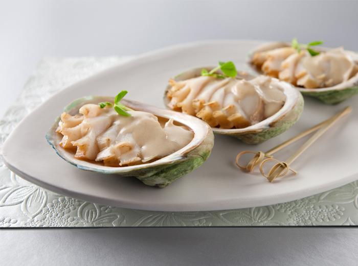 abalone with cream sauce dish
